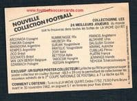 1982 Dalglish French triple sticker-card with Socrates La Vache Qui Rit